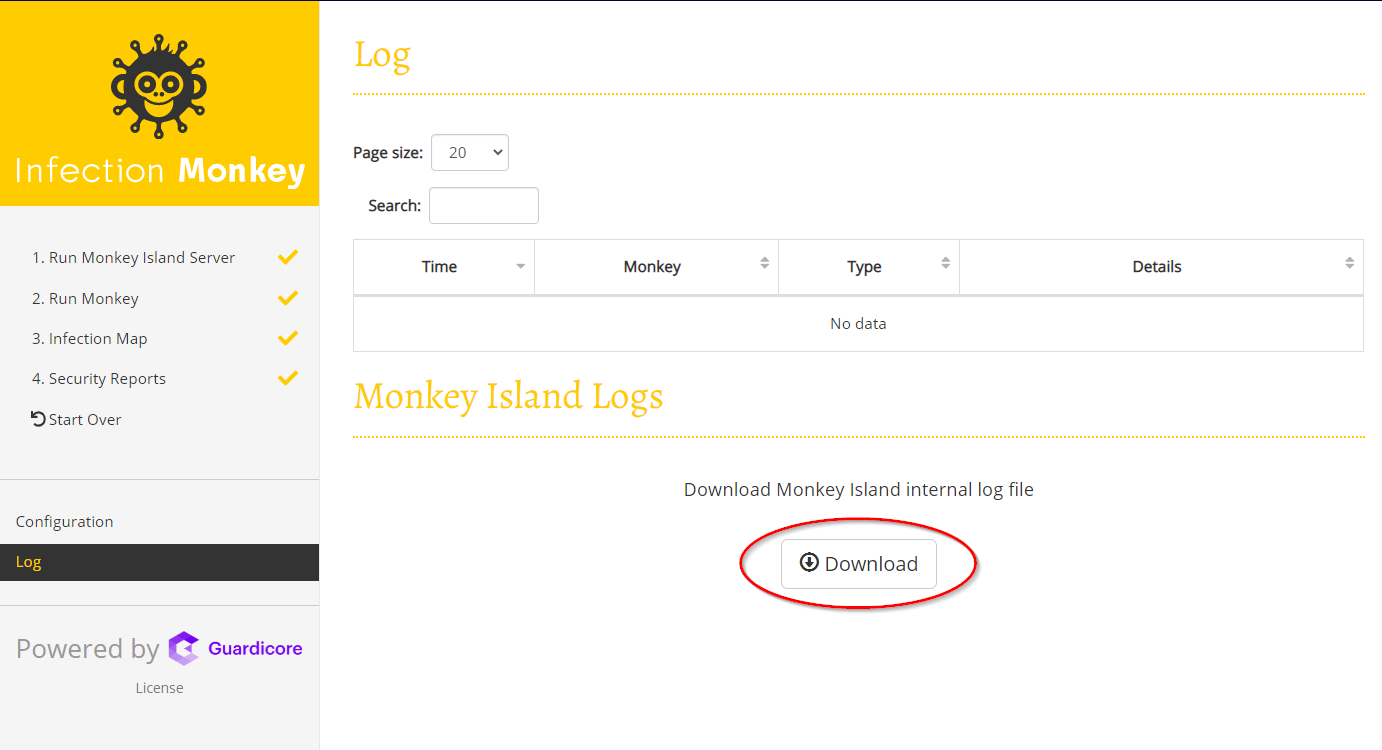 How to download Monkey Island internal log file