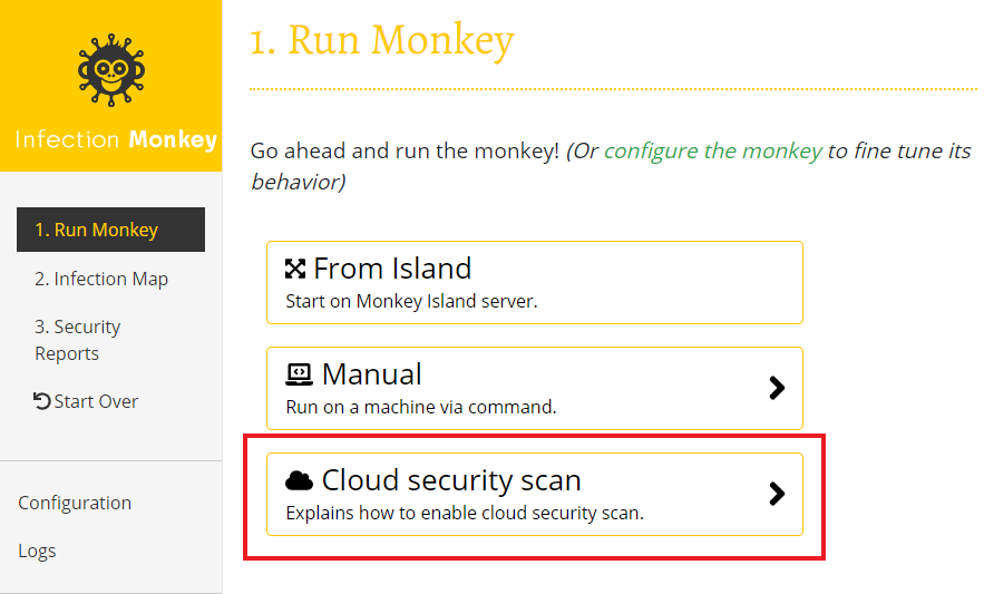 Cloud scan option in run page