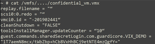 VMX file with shared secret