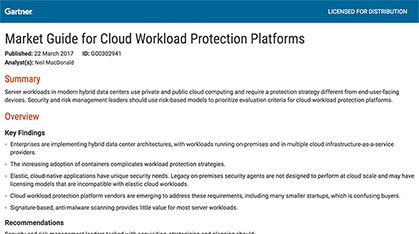 GuardiCore - Gartner Market Guide for Cloud Workload Protection Platforms