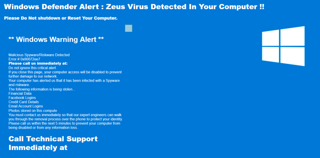 An example of a tech support scam visitors are redirected to