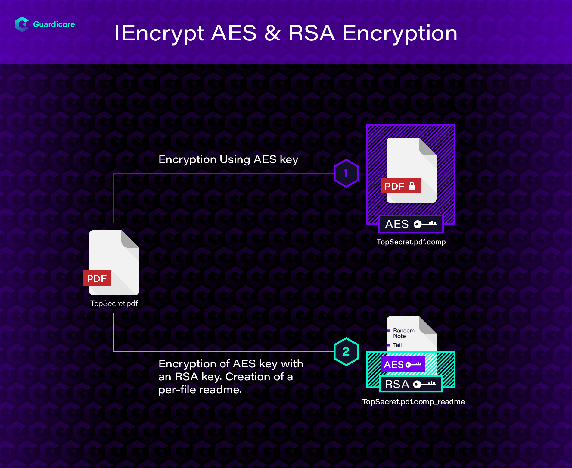 IEncrypt RSA and AES file encryption process showing how AES key is encrypted using an RSA public key which is baked into the malware