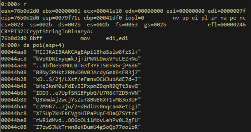 windbg output providing us the decryption key
