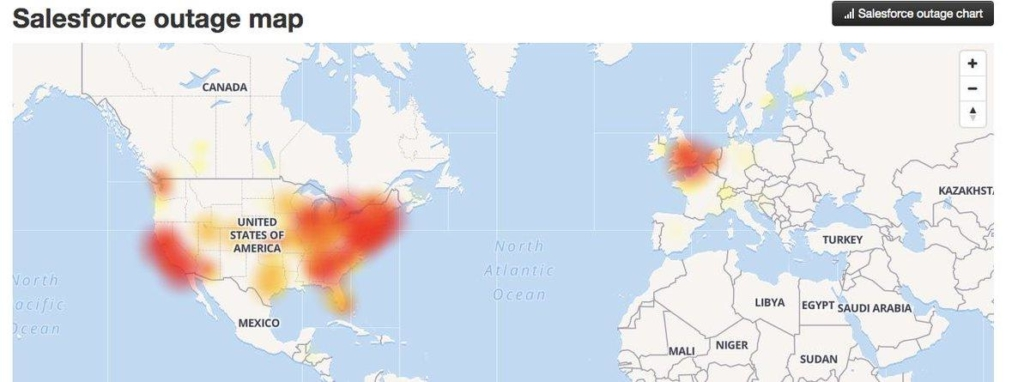 Salesforce outage map