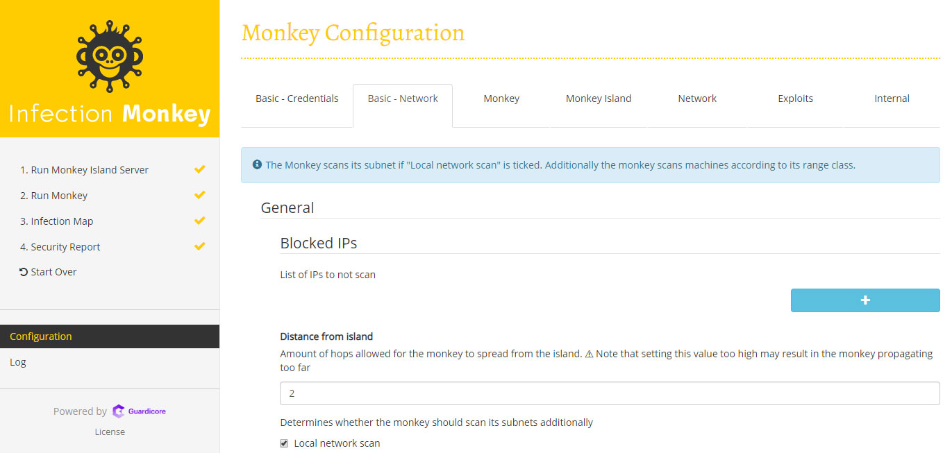 """Increase the Monkeys propagation depth by changing the """"Distance from island"""" configuration value."""