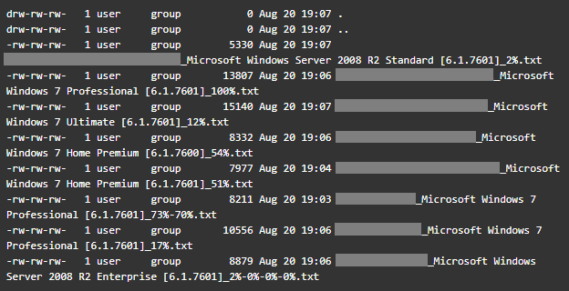 A directory listing of Smominru's FTP server, showing victim data