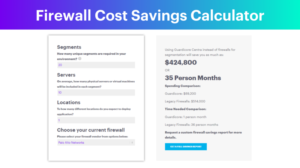 Guardicore Firewall Savings Calculator